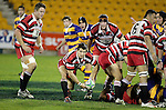 Ben Meyer looks to pass to his backs. Counties Manukau Steelers vs Bay of Plenty Steamers warm up game played at Mt Smart Stadium on 14th of July 2006. Counties Manukau won 25 - 20.