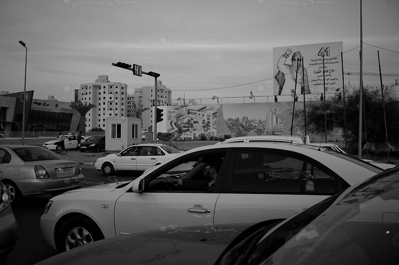 Tripoli, Libya, March 17, 2011.Reminders of the 41 years rule of Khaddafi are omnipresent in Libya; but  this traffic light countdown is a symbol that everything comes to a change after time.