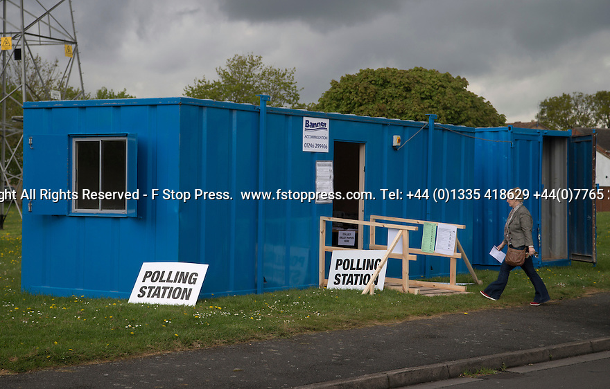 07/05/15<br /> <br /> Voters arrive to cast their votes in a portacabin, complete with a portaloo, which is being used as temporary polling station in Boulton Moor, Derbyshire.<br /> <br /> All Rights Reserved - F Stop Press.  www.fstoppress.com. Tel: +44 (0)1335 418629 +44(0)7765 242650