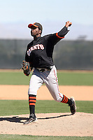 Mario Rodriguez #46 of the San Francisco Giants plays in a minor league spring training game against the Oakland Athletics at the Athletics minor league complex on March 31, 2011  in Phoenix, Arizona. .Photo by:  Bill Mitchell/Four Seam Images.