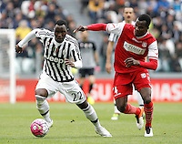 Calcio, Serie A: Juventus vs Carpi. Torino, Juventus Stadium, 1 maggio 2016.<br /> Juventus' Kwadwo Asamoah, left, is challenged by Carpi's Isaac Cofie during the Italian Serie A football match between Juventus and Carpi at Turin's Juventus Stadium, 1 May 2016.<br /> UPDATE IMAGES PRESS/Isabella Bonotto