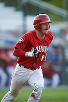 Auburn Doubledays catcher Erik VanMeetren (8) runs to first during a game against the Mahoning Valley Scrappers on June 19, 2016 at Falcon Park in Auburn, New York.  Mahoning Valley defeated Auburn 14-3.  (Mike Janes/Four Seam Images)