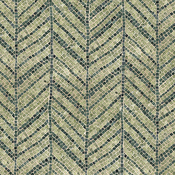Palm Frond, a hand-chopped stone mosaic, shown in tumbled Chartreuse, and Verde Alpi, is part of the Metamorphosis Collection by Sara Baldwin for New Ravenna Mosaics.