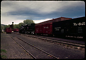 D&amp;RGW #488 K-36 with box car and stock car in Chama.<br /> D&amp;RGW  Chama, NM