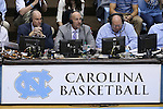 07 March 2015: ESPN broadcasters Jay Bilas and Dan Shulman call the game. The University of North Carolina Tar Heels played the Duke University Blue Devils in an NCAA Division I Men's basketball game at the Dean E. Smith Center in Chapel Hill, North Carolina. Duke won the game 84-77.