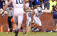 Brigham Young wide receiver JD Falslev (12) scores a touchdown during the first half of the against Virginia game in Charlottesville, Va. Photo/Andrew Shurtleff