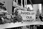 Residents of Walterton and Elgin Estates outside Westminster City Hall with their eventually succesful bid to take over their homes from Westminster City Council, London1989.