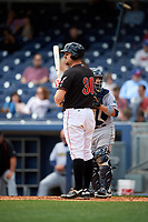 Nashville Sounds catcher Ryan Lavarnway (30) at bat during a game against the New Orleans Baby Cakes on May 1, 2017 at First Tennessee Park in Nashville, Tennessee.  Nashville defeated New Orleans 6-4.  (Mike Janes/Four Seam Images)