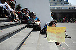 Indigenous people gather in front of the Supreme Court building on the second day of trial of former Guatemalan dictator, Efrain Rios Montt in the Supreme Court of Justice Guatemala CIty March 20, 2013.