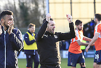 Luton Town manager Nathan Jones celebrates the win in front of the travelling fansduring the Sky Bet League 2 match between Yeovil Town and Luton Town at Huish Park, Yeovil, England on 4 March 2017. Photo by Liam Smith / PRiME Media Images.