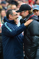 Liverpool manager Jurgen Klopp greets Chelsea manager Maurizio Sarri <br /> <br /> Photographer Richard Martin-Roberts/CameraSport<br /> <br /> The Premier League - Liverpool v Chelsea - Sunday 14th April 2019 - Anfield - Liverpool<br /> <br /> World Copyright © 2019 CameraSport. All rights reserved. 43 Linden Ave. Countesthorpe. Leicester. England. LE8 5PG - Tel: +44 (0) 116 277 4147 - admin@camerasport.com - www.camerasport.com
