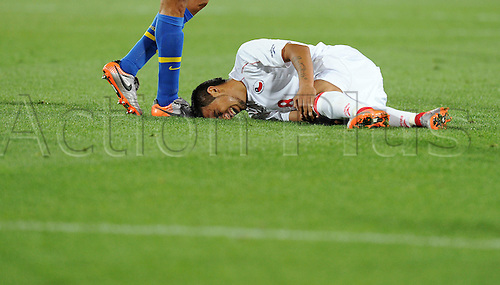 Arturo Vidal of Chile falls on the pitch during the 2010 FIFA World Cup soccer match between Brazil and Chile at Ellis Park Stadium on June 28, 2010 in Johannesburg, South Africa.