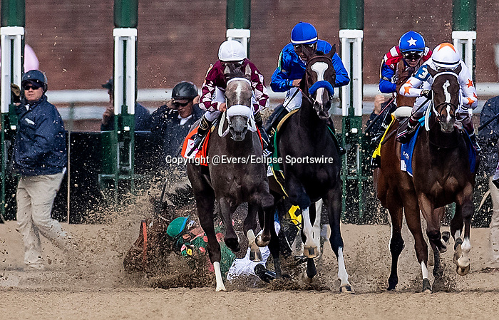 LOUISVILLE, KENTUCKY - MAY 03: Positive Spirit clips heels at the start of the Kentucky Oaks causing jockey Manuel Franco to fall at Churchill Downs in Louisville, Kentucky on May 03, 2019. Both rider and horse were un injured. Evers/Eclipse Sportswire/CSM