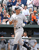 Baltimore, MD - April 20, 2008 -- New York Yankees third baseman Alex Rodriguez (13) looks back towards the field as he scores his team's second run in the 4th inning against the Baltimore Orioles at Oriole Park at Camden Yards in Baltimore, MD on Sunday, April 20, 2008..Credit: Ron Sachs / CNP.(RESTRICTION: NO New York or New Jersey Newspapers or newspapers within a 75 mile radius of New York City)