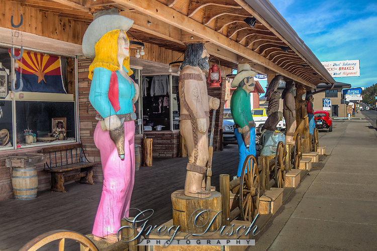 Wood Carving in front of the Native America Gift Shop on Route 66 in Williams Arizona.