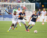 Foxborough, Massachusetts - May 24, 2014:  The New England Revolution (blue and red) defeated DC United (white and red), 2-1 in a Major League Soccer (MLS) match at Gillette Stadium.