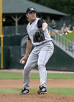 July 25, 2004:  Pitcher Joe Valentine of the Louisville Bats, Triple-A International League affiliate of the Cincinnati Reds, during a game at Frontier Field in Rochester, NY.  Photo by:  Mike Janes/Four Seam Images