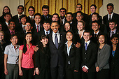 United States President Barack Obama meets with student finalists of the Intel Science Talent Search 2011 in the East Room of the White House in Washington, D.C. on Tuesday, March 15, 2011. .Credit: Gary Fabiano / Pool via CNP