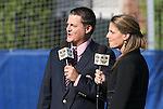 12 July 2009: Fox Soccer Channel play by play announcer Mark Rogondino (left) and color commentator Jenn Hildreth (right). Sky Blue FC defeated the Boston Breakers 2-1 at Harvard Stadium in Cambridge, Massachusetts in a regular season Women's Professional Soccer game.