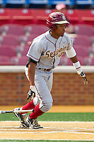 Sherman Johnson #32 of the Florida State Seminoles follows through on his swing against the Wake Forest Demon Deacons in the completion of the suspended game from March 23rd at Wake Forest Baseball Park on March 24, 2012 in Winston-Salem, North Carolina.  The Seminoles defeated the Demon Deacons 5-4 in 11 innings.  (Brian Westerholt/Four Seam Images)
