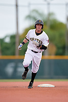 GCL Pirates left fielder Steven Kraft (6) rounds the bases after hitting a home run in the top of the sixth inning during the second game of a doubleheader against the GCL Yankees East on July 31, 2018 at Pirate City Complex in Bradenton, Florida.  GCL Pirates defeated GCL Yankees East 12-4.  (Mike Janes/Four Seam Images)