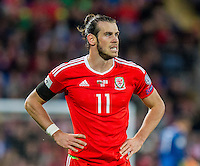 Gareth Bale of Wales shows his frustration during the FIFA World Cup Qualifier match between Wales and Georgia at the Cardiff City Stadium, Cardiff, Wales on 9 October 2016. Photo by Mark  Hawkins / PRiME Media Images.