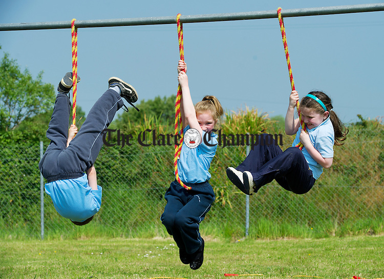 Jamie O Shea, Frances O Connor and Caroline Keating hanging about at Shragh National School. Photograph by John Kelly.
