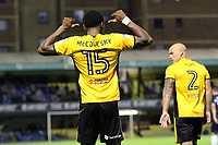 Shawn McClousky of Newport County celebrates getting the second goal during Southend United vs Newport County, Caraboa Cup Football at Roots Hall on 8th August 2017