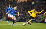 12.12.2019 Rangers v Young Boys Bern: Scott Arfield shoots past Michel Aebischer
