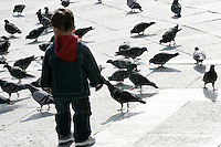 Un bambino gioca con i piccioni in Piazza San Marco a Venezia.<br /> A child plays with pigeons in front of the Patriarchal Cathedral Basilica of St. Mark in Venice.<br /> UPDATE IMAGES PRESS/Riccardo De Luca