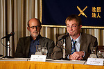 """April 1, 2011, Tokyo, Japan - Founder of the project, Our Man in Abiko (R), attends a press conference for the 2:46 Quakebook project. The Twitter-sourced #Quakebook project was created in one week by a group of journalists to raise money for the earthquake and tsunami victims. The 98-page book titled """"2:46: Aftershock: Stories from the Japan Earthquake"""" was launched by a Briton journalist turned blogger living in Tokyo who goes by the handle name """"Our Main in Abiko."""" People from all over the world have been contributing to this fundraising project including some well-known individuals such as artist Yoko Ono and has already received global attention from individuals, the media and large corporations willing make this project one of a kind. One hundred percent of the proceeds will be donated to the Japanese Red Cross Society. (Photo by Christopher Jue/AFLO) [2331]"""