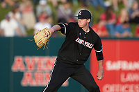 Louisville Cardinals starting pitcher Brendan McKay (38) in action against the North Carolina State Wolfpack at Doak Field at Dail Park on March 24, 2017 in Raleigh, North Carolina. The Wolfpack defeated the Cardinals 3-1. (Brian Westerholt/Four Seam Images)