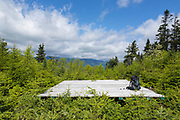 Helicopter landing pad on the summit of Mount Hitchcock (North) in the White Mountains of New Hampshire. When the radio repeater (out of view on the right) needs to be serviced workers are flown in by helicopter. The helicopter lands on this wooden pad.