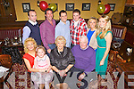 Celebrating her birthday was Eileen Fitzgerald(centre) from Banard, Abbeyfeale, pictured here celebrating with family and friends last Saturday night in Leen's Hotel, Abbeyfeale. F l-r: Siobhan Fitzgerald, Blaithin McElligott, Eileen and Timmy Joe Fitzgerald. B L-r: Bobby Woods, Padraig McElligott, Michael Ledwith, Thomas Fitzgerald, Catriona Woods and Breda Fitzgerald.