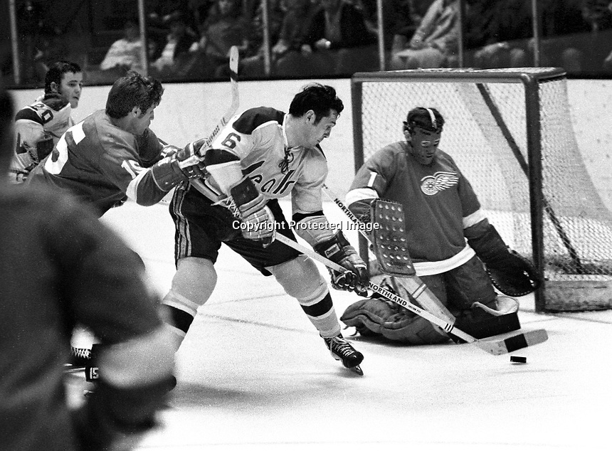 Seals vs Red Wings, #6 Dick Mattiussi tries to ram puck past goalie Rene LeClerc, Roy Edwards and Ernie Hicke.  (1971 photo/Ron Riesterer)