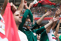 MOSCOW, RUSSIA - June 17, 2018: Mexico fans cheer during the 2018 FIFA World Cup group stage match between Germany and Mexico at Luzhniki Stadium.