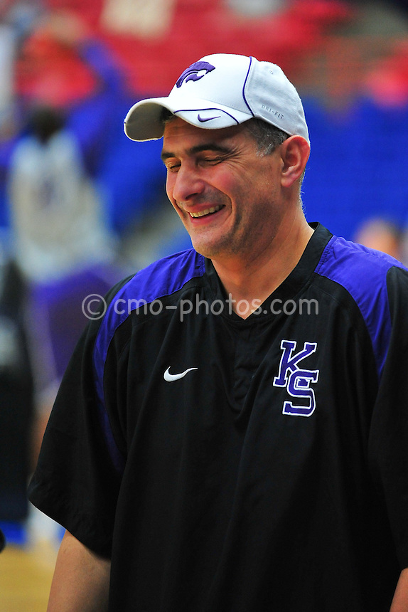 Mar 16, 2011; Tucson, AZ, USA; Kansas State Wildcats head coach Frank Martin during a practice the day before the second round of the 2011 NCAA men's basketball tournament at the McKale Center.