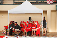 Stanford - February 1, 2015: Team watches the Stanford vs UCLA title match of the 2015 Stanford Invitational at Avery Aquatic Center on Sunday afternoon.<br /> <br /> The Cardinal defeated the Bruins 9-5.