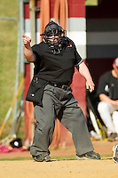 The home plate umpire makes a strike call during the NJCAA baseball game between the SUNY Sullivan Generals and the County College of Morris Titans on the campus of County College of Morris on April 9, 2013 in Randolph, New Jersey.  The Titans defeated the Generals 12-4.  (Brian Westerholt/Four Seam Images)