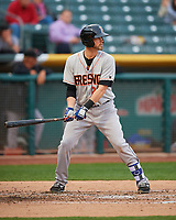 Reid Brignac (28) of the Fresno Grizzlies at bat against the Salt Lake Bees in Pacific Coast League action at Smith's Ballpark on April 17, 2017 in Salt Lake City, Utah. The Bees defeated the Grizzlies 6-2. (Stephen Smith/Four Seam Images)