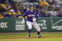 LSU Tigers shortstop Alex Bregman #30 takes his lead off of third base against the Auburn Tigers in the NCAA baseball game on March 23, 2013 at Alex Box Stadium in Baton Rouge, Louisiana. LSU defeated Auburn 5-1. (Andrew Woolley/Four Seam Images).