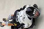 15 December 2006: Monique Riekewald from Germany, banks through a turn at the FIBT Women's World Cup Skeleton Competition at the Olympic Sports Complex on Mount Van Hoevenburg  in Lake Placid, New York, USA. &amp;#xA;&amp;#xA;Mandatory Photo credit: Ed Wolfstein Photo<br />