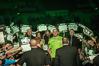 09.04.2015. Sheffield, England. Betway Premier League Darts. Matchday 10.  Michael van Gerwen [NED] makes his way to the stage before his match against Stephen Bunting [ENG]