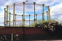 London: St. Pancras Road--Gasworks Framework, scheduled to encircle new Donut Condos.  Photo 2005.