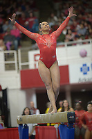 NWA Democrat-Gazette/ANDY SHUPE<br />Arkansas' Michaela Burton competes Friday, Jan. 12, 2018, in the beam portion of the 11th-ranked Razorbacks' meet with sixth-ranked Kentucky in Barnhill Arena in Fayetteville. Visit nwadg.com/photos to see more photographs from the meet.
