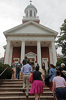 Charlottesville residents make their way to a Mass Prayer Service Friday at St. Paul's Memorial in Charlottesville, Va. Dr. Cornell West was the featured speaker at the event. Photo/Andrew Shurtleff