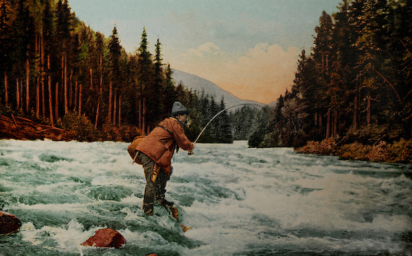 Vintage postcards from the 1920's with a fishing, fly fishing theme.