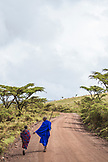 TANZANIA, Two Maasai people walking in Ngorongoro Conservation Area