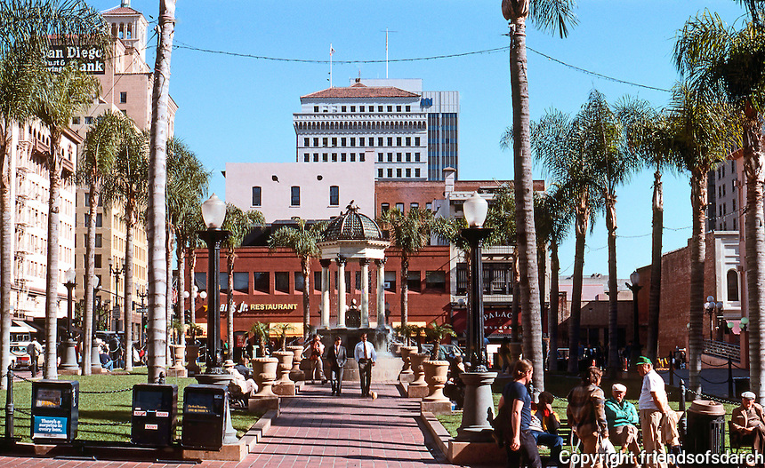 San Diego: Old Horton Plaza and Gill's Fountain. Looking east from 4th to 5th Ave.  (Photo 1990)