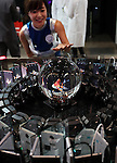 """April 30, 2016, Chiba, Japan - Japan's telecommunication giant NTT displays a 3D image of a goldfish in a glass ball, which is projected images from 48 smartphones during the Niconico Chokaigi in Chiba on Saturday, April 30, 2016. Some 150,000 visitors enjoyed over 100 booths including games, hobbies, sports, politics as well as Japan's sub cultures at the two-day offline meeting sponsored by Japan's video sharing website """"Niconico Douga"""".  (Photo by Yoshio Tsunoda/AFLO) LWX -ytd-"""